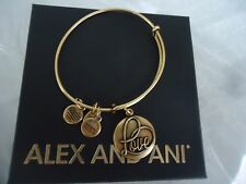 ALEX AND ANI LOVE III Russian Gold Finish Bangle Bracelet New W/Tag Card & Box
