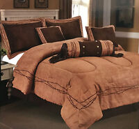 Embroidery Texas Barbed-Wire Cowboy Western Luxury Comforter Suede -7 Piece Set!
