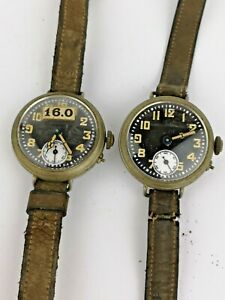 A Pair of Vintage WWI Era Boys Wrist Watches with Lume For Restoration (B107)