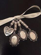 Bridal Bouquet Triple Oval Photo Frame Charm Wedding With Heart Swarovski Beads