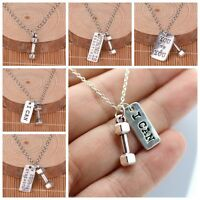 Men Gym Punk Silver Dumbbell Darbell Sport Charm Pendant Chain Necklace Jewelry