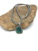 Navajo Sterling Silver Spider Web Turquoise Necklace Pendant 1.5in 2696