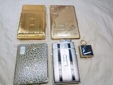 5 Vintage Cigarette Cases Deco w Lighters Engraved Lot