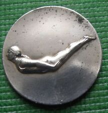 c1930  Art Nouveau Swimming Diving Medal : White Metal