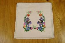 VINTAGE LINEN AND CROSS STITCH EMBROIDERED HANDKERCHIEF SACHET STOCKING CASE