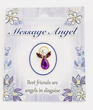 "MESSAGE ANGEL - SWAROVSKI CRYSTAL PIN / BROOCH - ""BEST FRIENDS"""