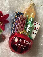 "Christmas Ornament NEW YORK CITY BIG APPLE Glass STATUE OF LIBERTY Glitter 5.75"""