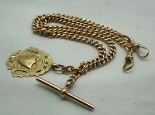 1940's Lovely 9ct Rose Gold Double Albert Watch Chain With Gold Shield Fob