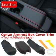 Black Red Line Center Armrest Box Leather Case Covers For Honda Civic 2016 2017