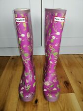 Hunter Long Wellies Wellington Boots Pink And Green Floral Size 5