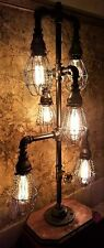 Handcrafted Industrial Pipe Home Desk or Table lamp with bulb cage