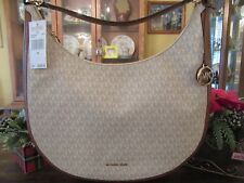New Michael Kors Signature Large Vanilla Lydia Hobo Shoulder Purse $298