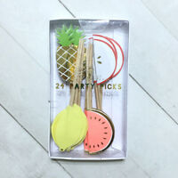 Tropical Fruit Cupcake Toppers Party Picks Designer Pineapple Watermelon Lemon