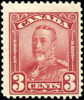 1928 Mint Canada Scott #151 3c KGV Scroll Issue Stamp Hinged