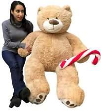 Christmas Big Plush Giant Teddy Bear 5 Foot Tan Soft Holding Plush Candy Cane