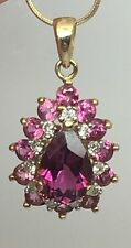 14K YELLOW GOLD PINK TOURMALINE AND DIAMOND PENDANT ON SNAKE CHAIN 18""