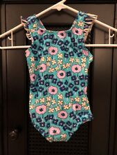 NWT Hanna Andersson 100 One Piece Swimsuit Swim Suit Ruffles Retro Blue Flowers