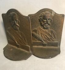 Pv03483 Vintage Book End Pair- Hammered Embossed Brass Henry Longfellow