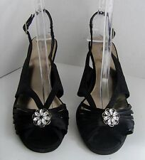 Mossimo US Size 10 Black Open Toe Sling Back High Heels w/White Beads