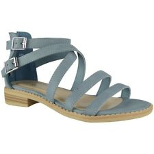 Womens Strappy Gladiator Sandals Ladies Summer Buckle Flats Low Heel Shoes Size UK 6 / EU 39 / US 8 Blue
