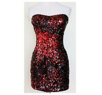 FREDERICK'S OF HOLLYWOOD Strapless Mini Dress  Women's Size S  Reversing Sequins