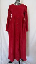Vintage MODA Int'l Velour Dress USA Button Front Drop Waist Modest SMALL