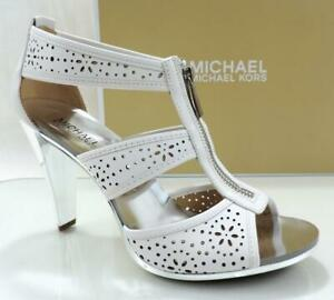 Michael Kors Berkley T-Strap Heels Sandal Zip Lasered Leather White Size 10