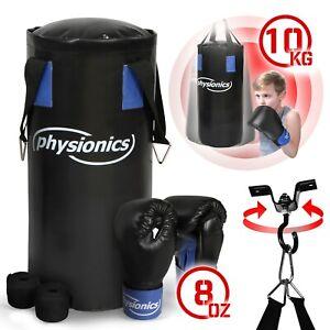 Physionics® Kinder Boxset Boxsack Gefüllt Boxhandschuhe Sandsack Boxen Set 10 kg