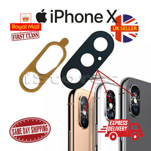 New iPhone X 10 Replacement Rear Back GLASS Camera Lens Cover with Adhesive