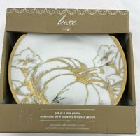 Ciroa Luxe Pumpkin White Gold Set of 4 Side Plates Porcelain Thanksgiving