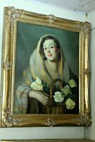 Large Classic Oil, Spanish Lady with Roses, Framed