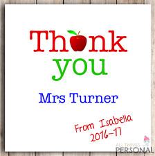 Los profesores de Tarjeta Personalizado Gracias profesor asistente de enseñanza de regalo presente D1