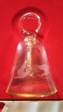 Lenox Full Lead Crystal Hand Blown Christmas Bell 1986 Doves Etched in the box