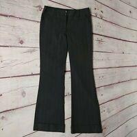 Star City Juniors Gray Pinstripe Cuffed Flare Leg Dress Pants Size 3 Stretch EUC
