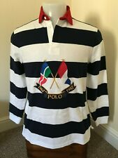 Authentic Polo Ralph Lauren Crossed Flags Embroidered L/S Rugby Shirt - M - BNWT