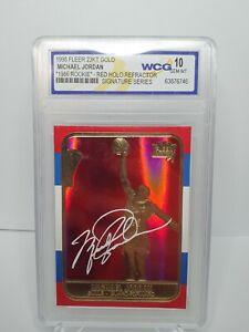 1998 Fleer Michael Jordan Auto 23kt Gold Red Holo Refractor Graded 10 PSA Rookie