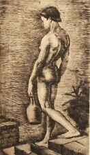 1950 Art print nude girl carry bottle signed