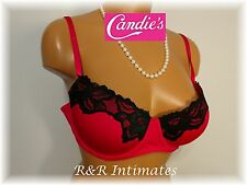 Gorgeous Candies Lacey Balconette Padded Push-up Bra, Red, 2CA924, Size 34A