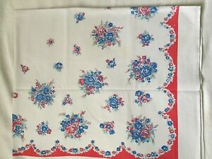 """1940's Vintage 51"""" x 45"""" Red, Blue Floral Tablecloth"""