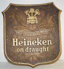 "Vintage Heineken On Draught Beer Sign 13.5"" Shield Ivy 13.5"""