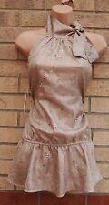 Plastique par Laura Wren taupe gold col cravate peplum floral chemisier tunique 10 s
