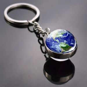Nuovo Globus Catena Chiave Rimorchio Planet Terrestre Vetro Metallo