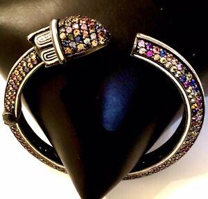MCL Matthew Campbell Laurenza Sterling Multi Color Sapphire & Enamel Bracelet