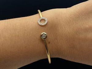 Modern 18K Yellow / Whtie Gold Cuff Diamond Bracelet