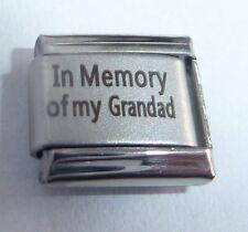 IN MEMORY OF MY GRANDAD Italian Charm - With Sympathy I Love fits 9mm Bracelets