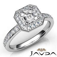 Asscher Diamond Halo Pave Set Engagement Ring GIA E VVS2 18k White Gold 1.16Ct