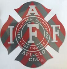 ONE RED/SILVER IAFF Firefighter Union Chevron Reflective 3M Sticker Decal 4""