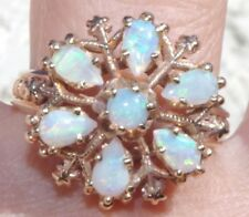 14K ETHIOPIAN OPAL FIRE CLUSTER DOME ANTIQUE GORGEOUS RING SIZE 8.5