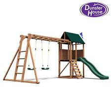 Kids Swing Set Wooden Climbing Frame Childrens Garden Swings Slide Monkey Bars