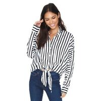 Line and Dot Margo tie front blouse striped button up top black white womens